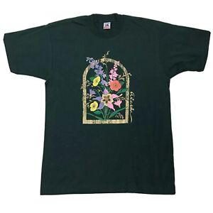 Vtg-Alaska-Flowers-Shirt-Sz-Large-Green-Multicolor-Floral-Short-Sleeve-Tee