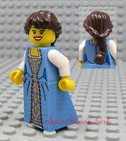 NEW Lego Pirates/Castle Brown Hair FEMALE MINIFIG Blue Dress/Skirt Princess Girl