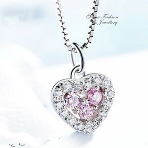 925-Sterling-Silver-Made-With-Swarovski-Crystal-Baby-Pink-Slim-Heart-Necklace