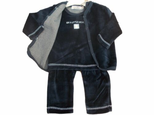 BNWT Baby unisex boys  girls 3 piece velour suit jacket top and trousers 4 sizes