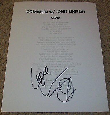 Music Autographs-original Common Signed Selma Glory Lyric Sheet W/proof Autograph Oscar's Academy Awards