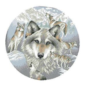 Stamped-Cross-Stitch-Kit-034-Animals-Wolves-034-Printed-Design-11CT-14CT-Handmade