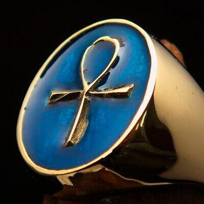 Stainless Steel Egyptian Ankh Cross Symbol Mens Hexagon Crest Signet Ring