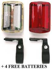 LED Bicycle Mountain Bike Cycle Light Lights Front & Rear Back +4 FREE BATTERIES