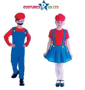 Bambino-Idraulico-Ragazza-e-Mario-Costume-Vestito-Completo-Halloween