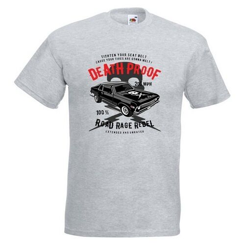 Death Proof Mens PRINTED T-SHIRT Road Rage Car Classic Vehicle Text