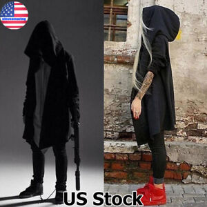Mens-Gothic-Steampunk-Outwear-Hooded-Coat-Long-Trench-Jacket-Casual-Cloak-Hoodie