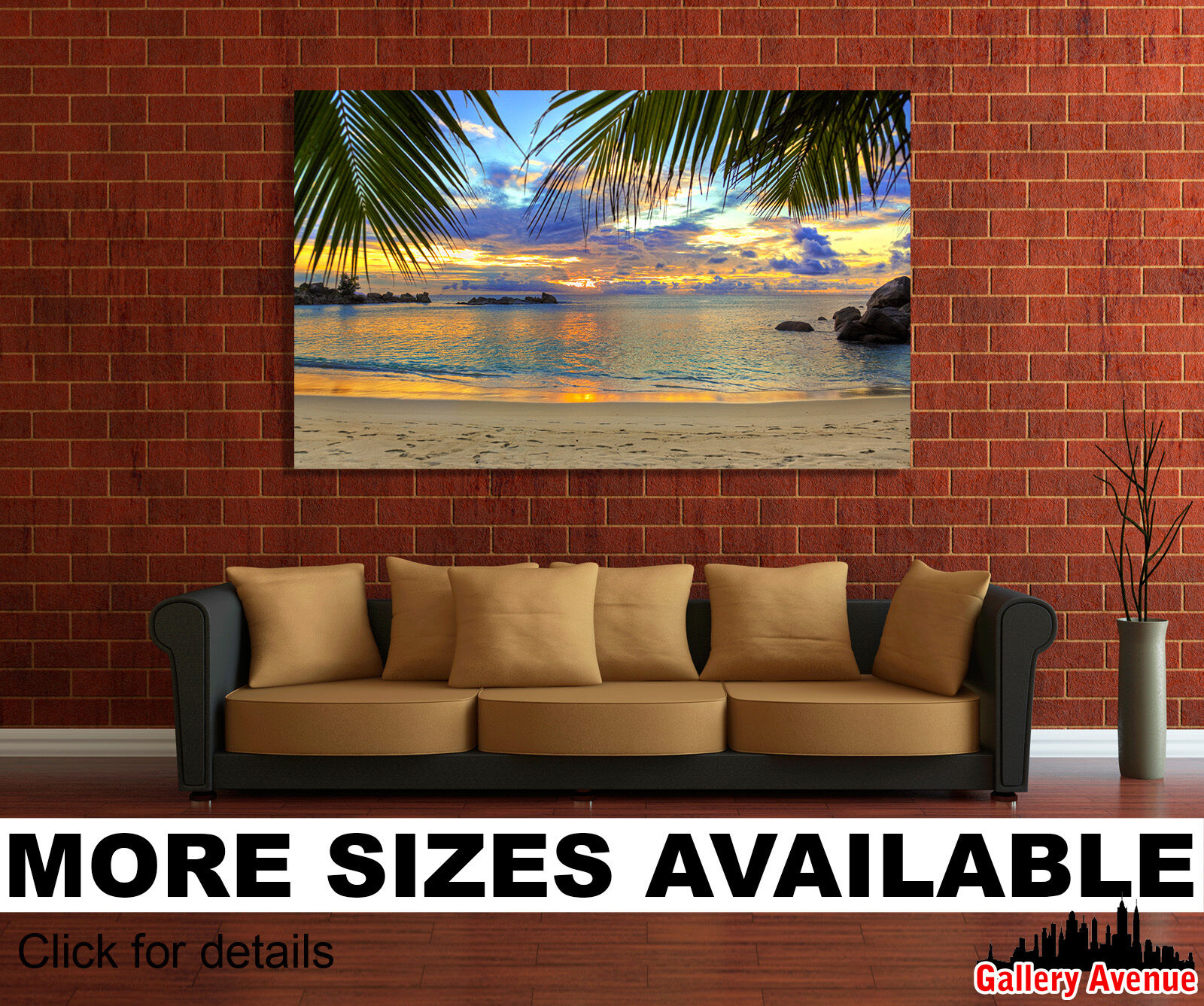 Wall Art Canvas Picture Print - Beach Tropics Sea Sand Palm Trees 3.2