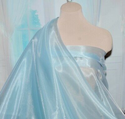"""IRIDESCENT ORGANZA POLY FABRIC SILVER PAGEANT DRESSES CRAFTS 58/"""" FORMAL"""
