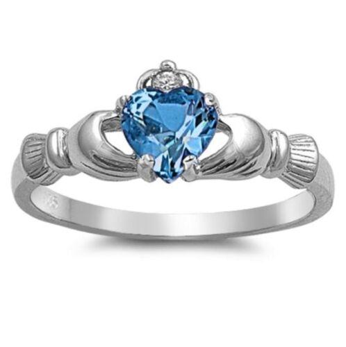 IRISH LOVE BLUE ZIRCON C.Z CLADDAGH RING All Sterling Silver.925  4 to 12