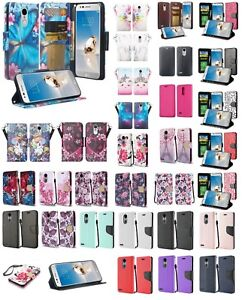 promo code 60fde 74df4 Details about LG Fortune 2 Design Wallet Credit Card Kick Stand Flip Phone  Case Cover Cricket