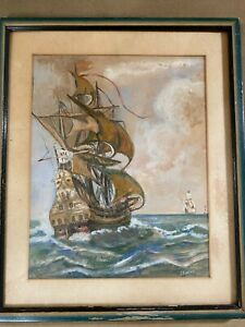 Antique-T-Elacca-Masted-Ships-at-Sea-Scene-034-Gouache-Painting-Signed-And-Framed