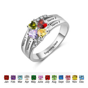 77a75820e7 Image is loading Personalized-Family-Rings-925-Silver-Birthstone-Name-Ring-