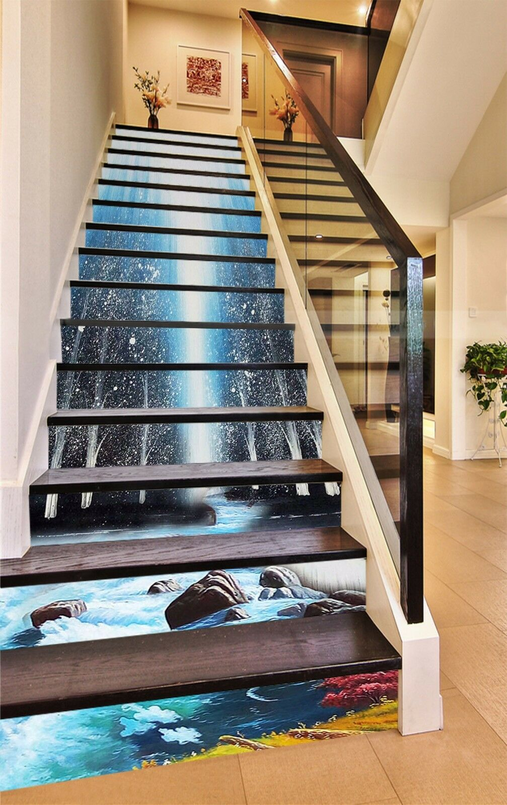 3D brillante River 133 escaleras decoración mural De vinilo Calcomanía elevadores nos Papel Tapiz De mural Foto 9cc32d