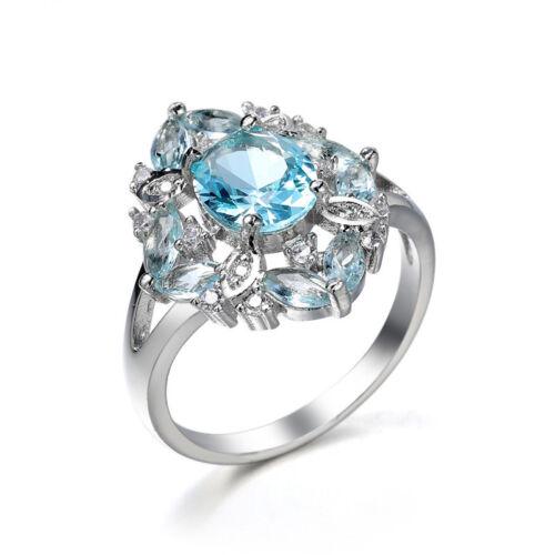 Round Cut Light Aquamarine Bleu Zircon Cubique BANDE ARGENT 925 Femme Anneau Mariage Taille 6-10