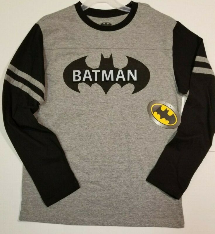 Batman Youth Boy's Xxl 18 Kid's Long Sleeve Shirt Raised Letters New With Tags