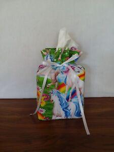 Unicorns-rainbows-flowers-cotton-Fabric-Handmade-Square-Tissue-Box-Cover