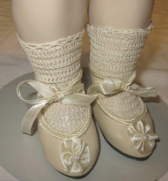 "German style shoes 4 antique bisque or vintage composition doll 1 1//2/"" long sz10"