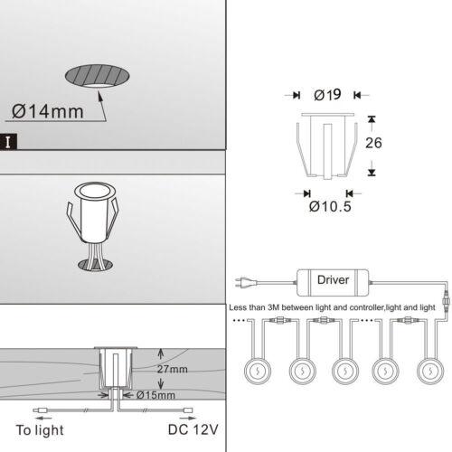 Low Voltage 19//30//31//45//61mm Driveway Terrace LED Deck Stair Step Soffit Lights