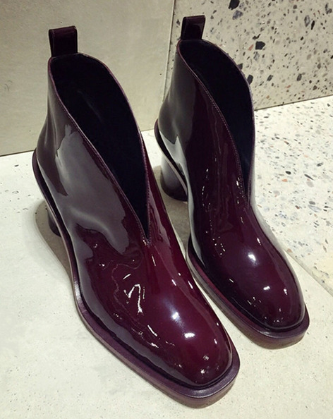 Women Patent Leather Square Toe Chelsea Ankle Riding Boots Med Block Heels B857