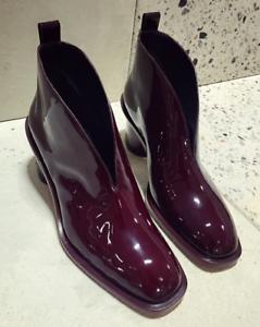 Damens Patent Leder Square Ankle Toe Chelsea Ankle Square Riding Stiefel Med Block b87ba5