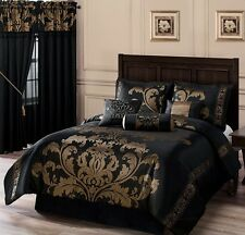 Luxurious 7 Piece Comforter Set Bedding Queen Size Bed in a Bag Black Gold New