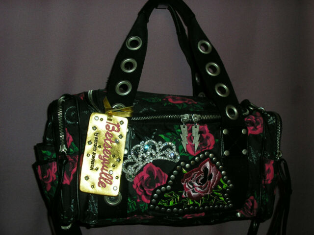 Betsey Johnson Betseyville Princess Rose Black Satchel Handbag with Crown Pin
