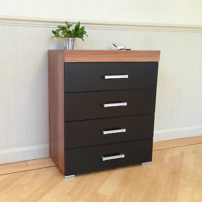 Chest of 4 Drawers in Black & Walnut Bedroom Furniture Modern * BRAND NEW*