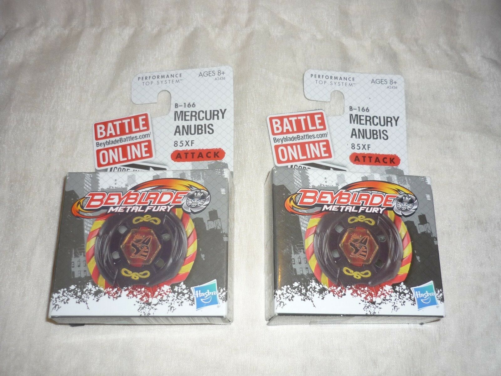 Lot of 2 NEW HTF HTF HTF 2012 Hasbro BEYBLADE Metal Fury B-166 Mercury Anubis 85XF 57fc2f
