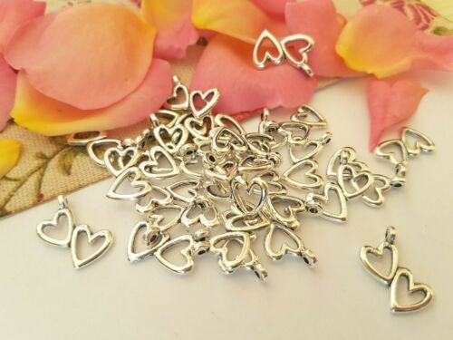 LOVE ROMANTIC CRAFT PENDANTS 5,10,20 TWO HEARTS TIBETAN STYLE SILVER CHARMS