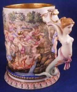 Antique Doccia Ginori Porcelain Capodimonte Relief Scene Tankard Stein Porzellan