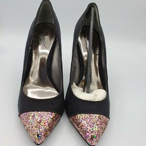 Carlos-Santana-Black-Velvet-Pink-Multicolor-Glitter-Toe-Pumps-Women-039-s-Size-8-NEW