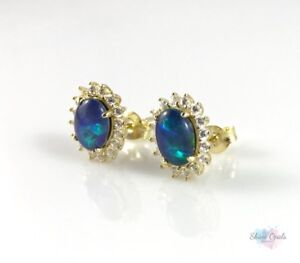Gold-Opal-Stud-Earrings-Genuine-Australian-Opal-Sterling-Silver-w-Cubic-Zirons
