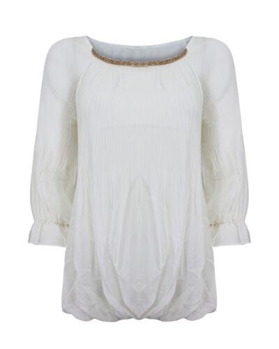 Femme manches 3//4 mousseline chemisier extensible haut robe chemise 8 10 12 14