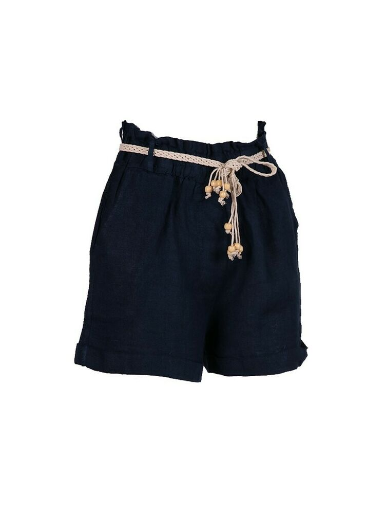 Fabriqué En Italie Femme Lin Perles Ceinture Shorts Taille 10 12 14