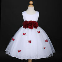 White/Burgundy Wine Bridesmaid Wedding Flower Girl Dress 6M 12M 18M 2 4 6 8 9/10