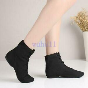 Women-039-s-flat-sneakers-lace-up-round-toe-dance-Jazz-boots-soft-sole-ballet-shoes
