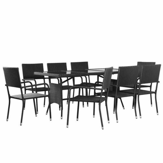 Mar Sedie E Tavoli.Vidaxl Set 8 Sedie E 1 Tavolo Da Pranzo Per Giardino Neri