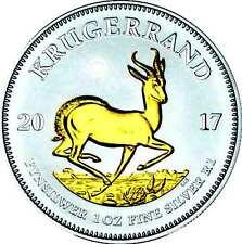 1 oz Silber Krügerrand 2017 1 Rand Südafrika Silver gilded
