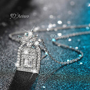 18K-WHITE-GOLD-GF-MADE-WITH-SWAROVSKI-CRYSTAL-PENDANT-HOUSE-HOME-NECKLACE
