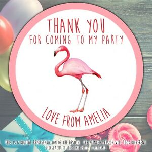 Personalised-Flamingo-Birthday-Party-round-stickers-labels-party-cone-sheet