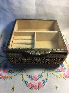 Vintage Gold Ormolu Filigree Footed Glass Large Jewelry Box Casket