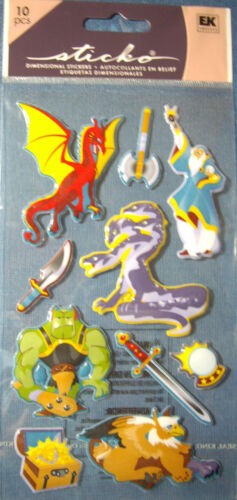 NEW 10 pc MYTHICAL Dragon Wizard Hydra Griffin Sword Fantasy STICKO 3D Stickers