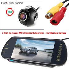"US-7"" MP5 Bluetooth Car Rearview Mirror Monitor+360° Rotatable Backup Camera"