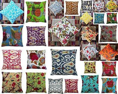"Indian Handmade White Aari-Tari Patchwork Kantha Sofa-Pillow-Cushion-Cover 16/"""