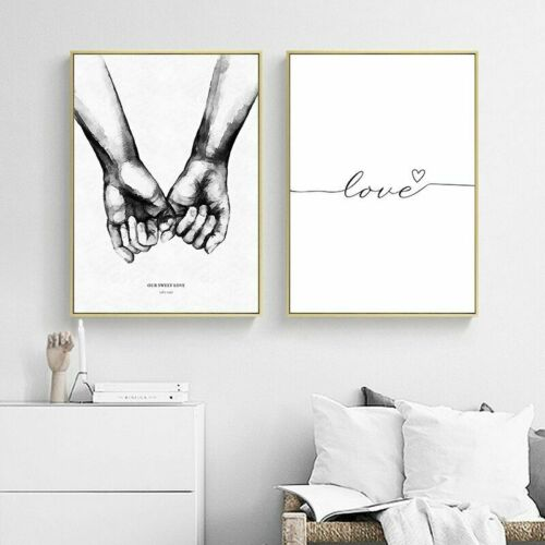 Black White Hands Wall Art Canvas Posters Love Quotes Picture Modern Home Decor