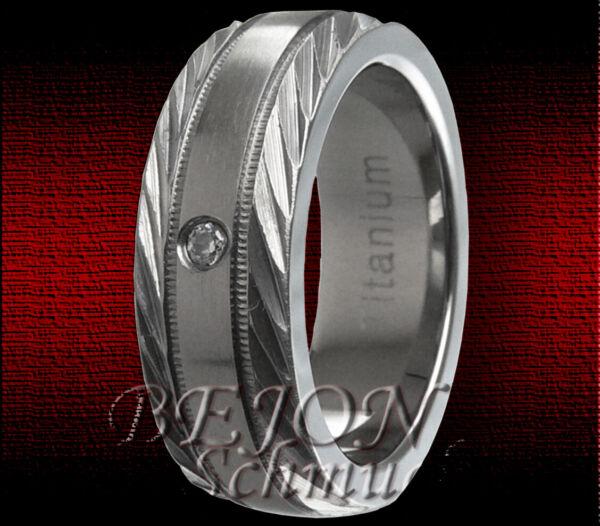 *neu* Titan Ring *7mm Breit* Mit Stein *tr-03-a*