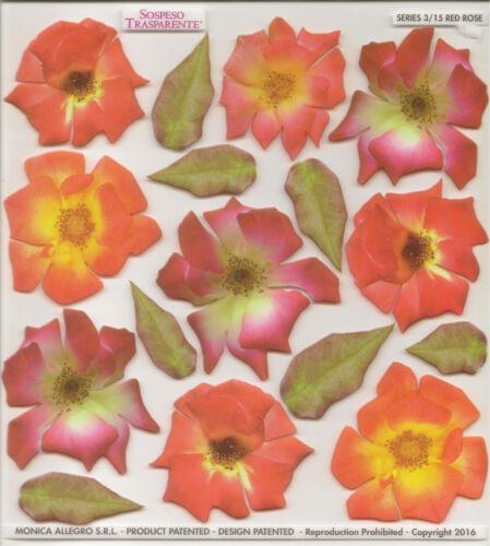 Sospeso trasparente 3D DECOUPIS Rose Rouge Fleur Imprimé Film Feuille