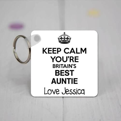 Personnalisé carré acrylique porte-clés-keep calm vous êtes britain/'s best auntie