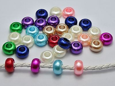 100 Mixed Color Acrylic Faux Pearl Rondelle Spacer Beads With Large 5mm Hole